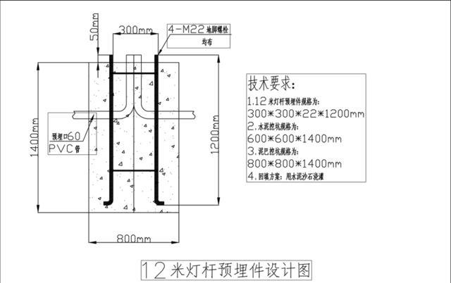 室外运动场照明灯杆预埋件安装的基本原理 6 7 8 12 15米预埋基础件设计图和安装方式